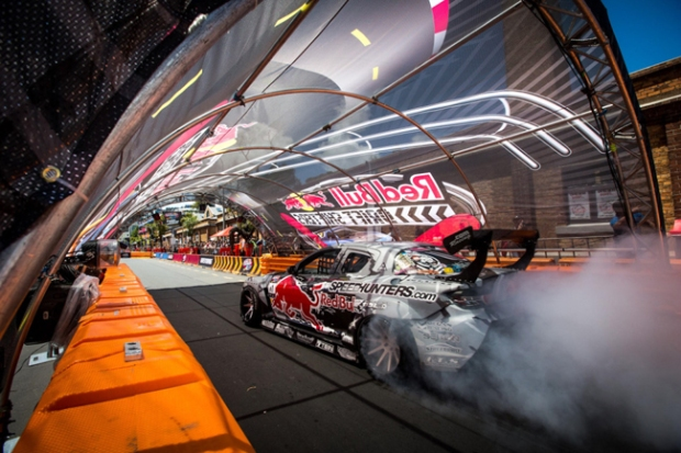 (Mad Mike in the Seibon Carbon equipped RX8 at Red Bull Drift Shifters. Photo credit: Redbull.co.nz)