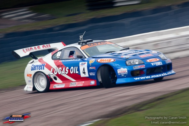 The Lucas Oil UK Drift Team/ Seibon Carbon Toyota Supra at Round 1 of the Maxxis British Drift Championship.