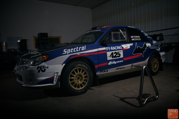 (FY Racing's Subaru STI with new livery. The STI is running a Seibon Carbon hood, trunk and set of doors. Photo credit: Stand Up Media.)