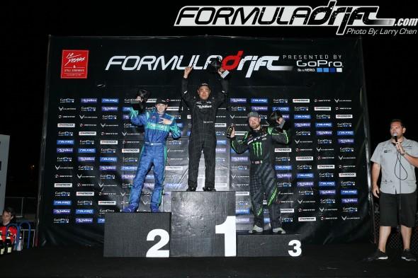 Seibon Carbon drivers podium at Round 2 of FD. Daigo Saito(1st place) and Darren McNamara (2nd place). Photo credit: Formuladrift.com.
