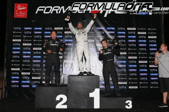 (Seibon Carbon drivers Daigo Saito [2nd] and Robbie Nishida [3rd] take the podium at Round 3 of Formula Drift. Photo credit: Formuladrift.com)