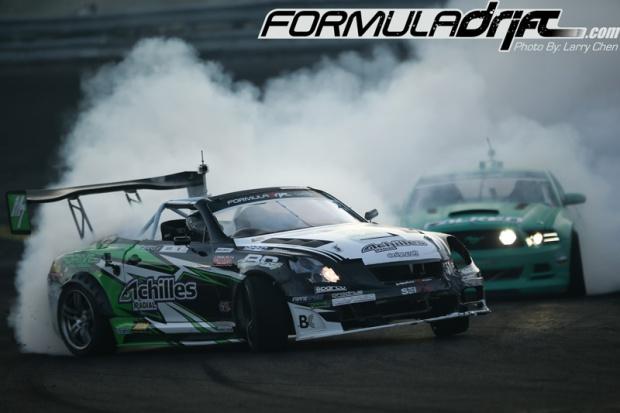 Seibon Carbon driver Daigo Saito (Lexus SC430) against Justin Pawlak (Ford Mustang). Photo credit: Formula Drift.com.