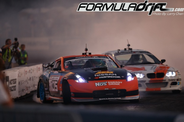 Seibon driver Chris Forsberg in Nissan 370z vs Michael Essa. Photo credit: Formuladrift.com