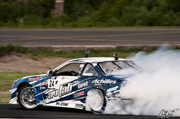 Dave Briggs' Nissan S14 competition car  is runs a Seibon Carbon hood and trunk. Photo credit: Jag Imaging.com.