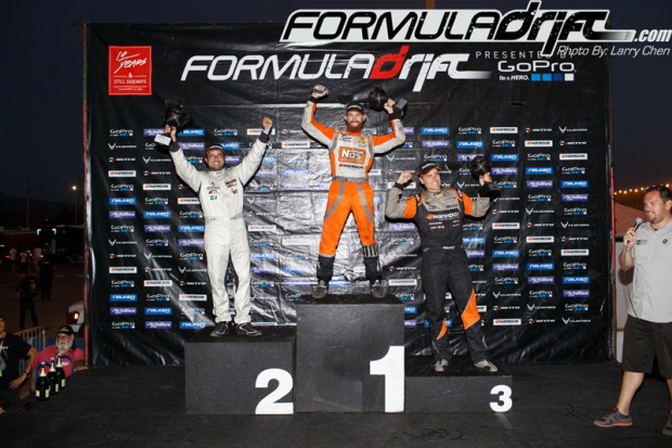 Seibon Carbon driver Chris Forsberg takes 1st, Michael Essa 2nd, and Seibon Carbon driver Fredric Aasbo takes 3rd at Round 5. Photo credit: Formuladrift.com.
