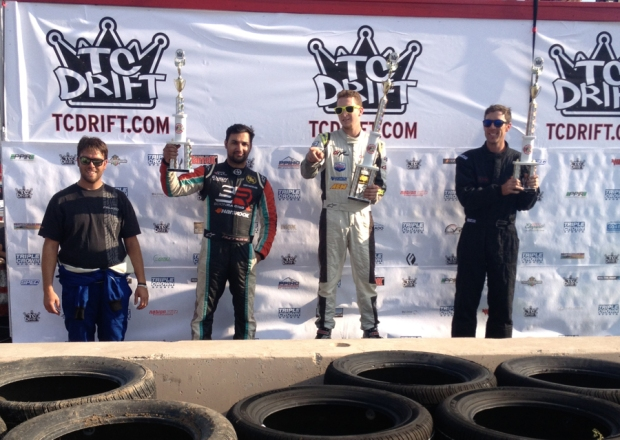Seibon Carbon driver Tony Angelo (left) takes 3rd place at Triple Crown Drift. Photo credit: Scion Racing