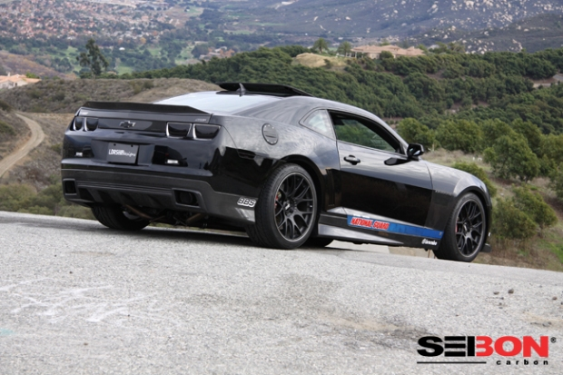 Ashby's Camaro features a Seibon Carbon hood, trunk, fenders, rear spoiler, front lip, rear valance, and side skirts.