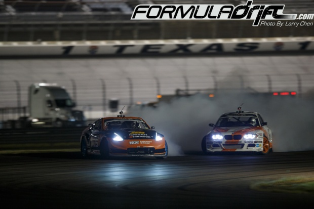 Chris Forsberg in the Seibon Carbon equipped Nissan 370z against Michael Essa. Photo credit: Formula Drift.com.