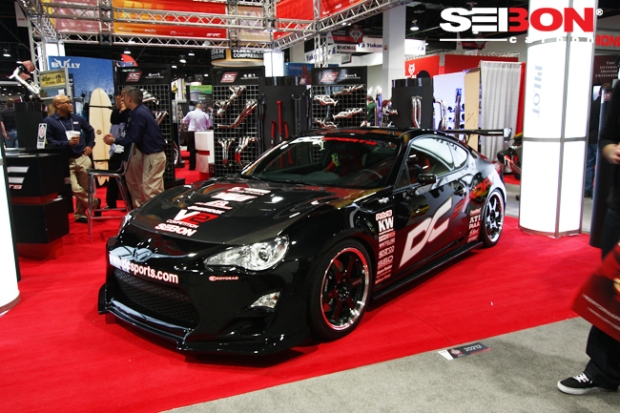 DC Sport's Scion FRS running a Seibon Carbon DV-style hood and OEM-style trunk.