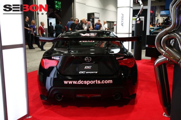 DC Sports' Scion FRS running a Seibon Carbon DV-style hood and OEM-style trunk.