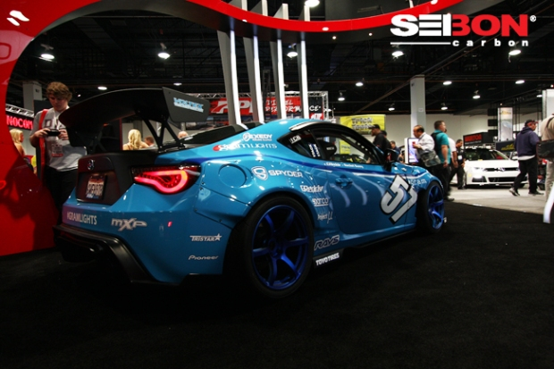 Mackin's Scion FRS running a Seibon Carbon dry carbon DV-style hood, dry carbon OEM-style trunk, and dry carbon roof replacement.