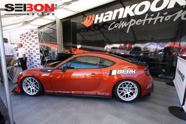 Berk Technology/Hankook Scion FRS running a Seibon Carbon OEM-style hood and trunk.