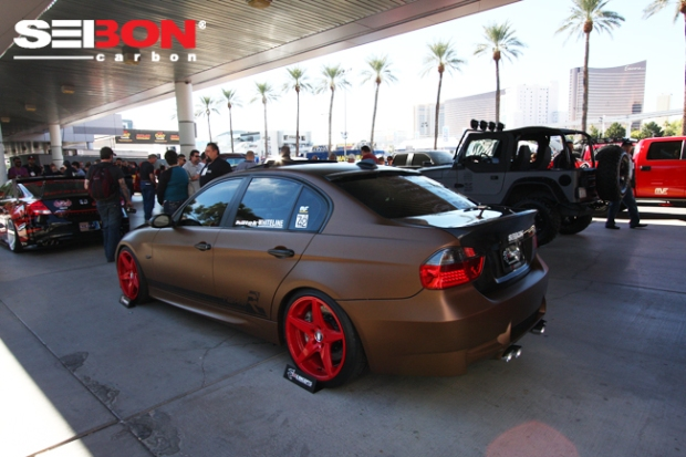 BMW running a Seibon Carbon GTR style hood and CSL style trunk.