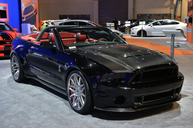 Seibon Carbon upper and lower front grilles, trunk, and rear spoiler. Photo credit: Mustangs Daily.com