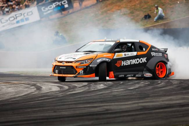 Fredric Aasbo at Round 2 in the Seibon Carbon equipped Scion tC. Photo credit: Jerry Chen.
