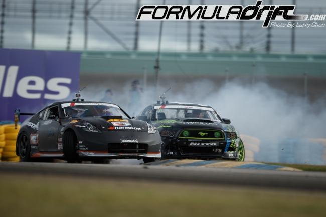 (Chris Forsberg [370z]vs Gittin Jr. for 1st place. Photo credit: Formula Drift.com)