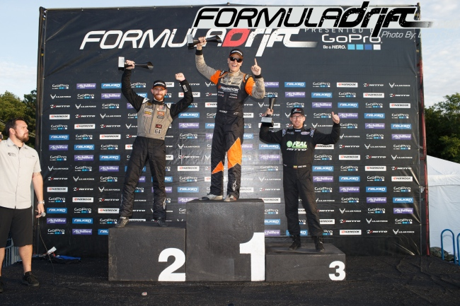 Seibon drivers Forsberg (2nd) and Aasbo (1st) take the podium at Round 4 of Formula Drift. Photo credit: Formula Drift.com