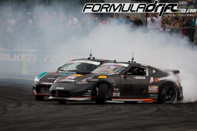 Chris Forsberg (370z) vs Ken Gushi (FRS). Photo credit: Formuladrift.com.