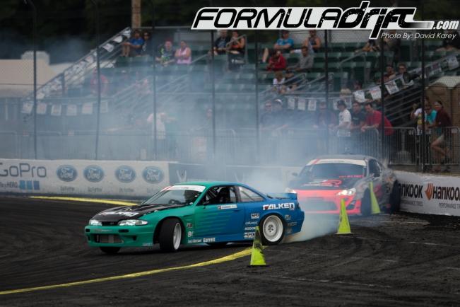Darren McNamara (S14)  vs. Tony Angelo (FRS) at Round 5. Photo credit: Formula Drift.com.