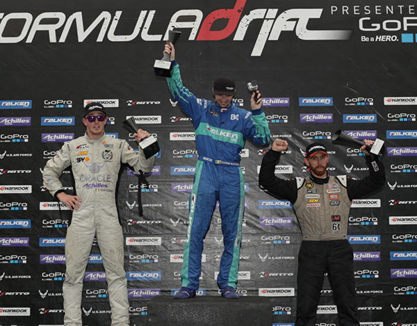 Seibon Carbon drivers Darren McNamara (1st) and Chris Forsberg (3rd)  podium at Round 5. Photo credit: FormulaDrift.com