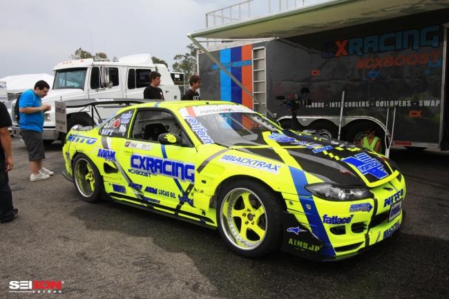 Matt Field's Formula Drift competition car. His race car runs Seibon Carbon hood and trunk.
