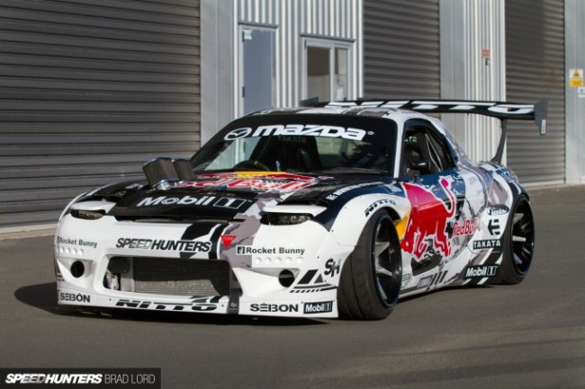 Mad Mike MADBUL Mazda RX7 with Seibon Carbon hood, hatch, doors, and fenders. Photo credit: Speedhunters.com