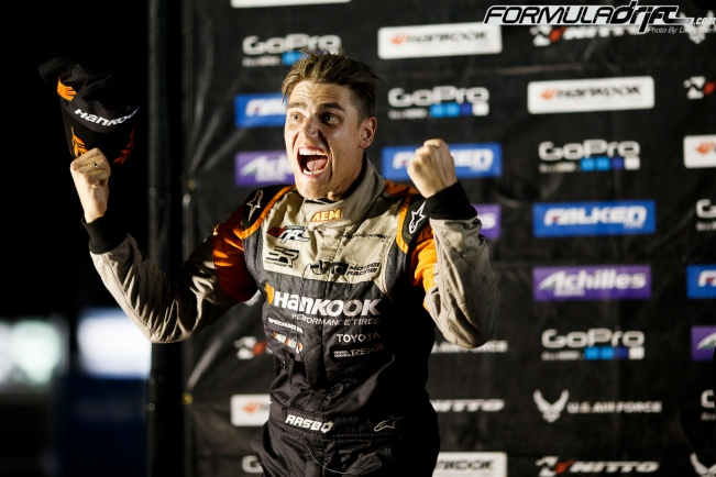 Fredric Aasbo takes 1st place at Round 6 of Formula Drift. Photo credit: Formula Drift.com.