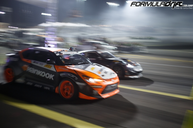 Fredric Aasbo (Scion tC) vs. Chris Forsberg (Nissan 370z). Photo credit: Formula Drift.com
