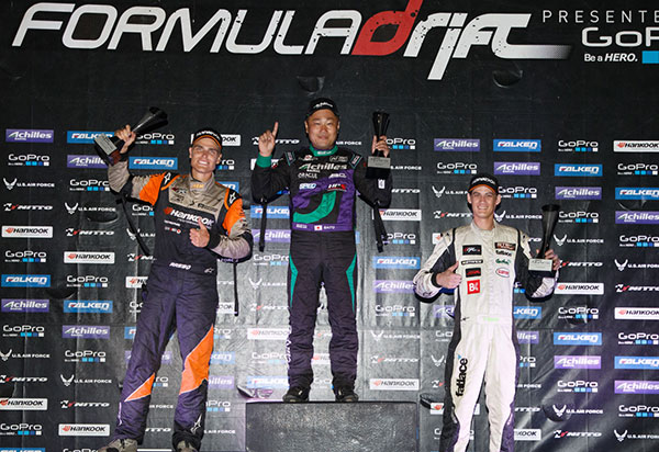 Seibon Carbon driver Daigo Saito wins 1st and Fredric Aasbo takes 2nd place at Round 7. Photo credit: Formula Drift.com.