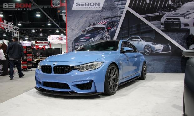 Seibon Carbon SEMA BMW M4 front lip side skirts